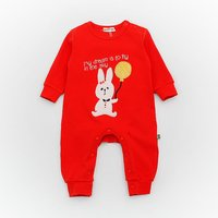 Adorable Rabbit and Letter Print Long-sleeve Jumpsuit for Babies