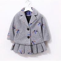 Elegant Swallow Print Pleated Hem Coat for Toddler Girl/Girl
