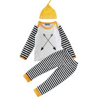 Cool Arrow Print Stripes-sleeve Top and Pants Set with Hat for Baby