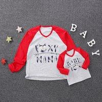 Lovely Letter Print Raglan T-shirt for Mom and Me