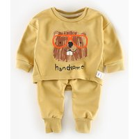 Handsome Animal Long-sleeve Top and Pants Set for Baby