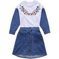 Wonderful Embroidered Flower Blouse and Denim Skirt Set for Girl