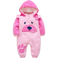 Stylish Bear Pattern Hooded Jumpsuit for Babies