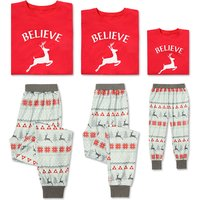 2-piece 'BELIEVE'Christmas Deer Family Matching Pj's