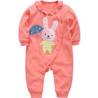 Lovely Bunny Applique Ruffle Collar Long Sleeve Jumpsuit for Baby Girl