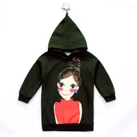 Fashionable Cartoon Print Hooded Sweatshirt for Girl