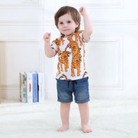 Adorable Tiger Printed Short Sleeves Tee for Boy
