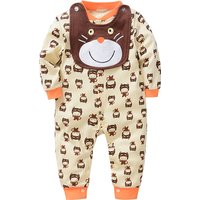 Cute Cat Print Long Sleeve Jumpsuit with Bib for Baby