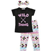 """Lovely """"WILD THING"""" T-shirt, Pants and Headband Set for Baby and Toddler Girl"""