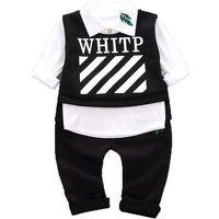 3-piece Cool Long-sleeve Shirt, Black Pants and Letter Print Vest Set for Baby