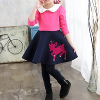 Girl's Pretty Deer Print Contrast Long Sleeve Doll Collar Dress