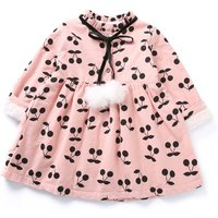 Sweet Cherry Print Pompon Fleece Lining Dress for Baby and Toddler Girl