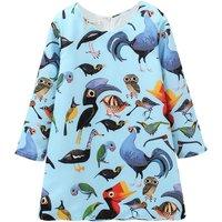 Chic Bird Print Long-sleeve Dress in Blue for Toddler Girl/Girl
