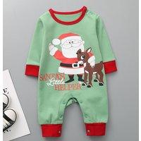 Cute Santa and Deer Print Long-sleeve Jumpsuit for Babies