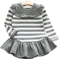 Sweet Ruffled Striped Long-sleeve Dress for Girls