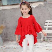 Girl's Solid Sweet Ruffles Hi-low Bell-sleeveless Dress