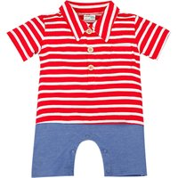 Baby Boy's Stripe Collared Romper/One-Piece in Red