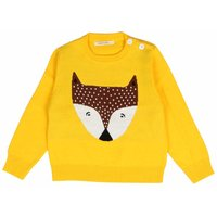 Cozy Fox Bright Yellow Knitted Sweater for Babies and Kids