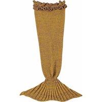 Girl's Cozy Knitted Mermaid Tail Blanket in Ginger
