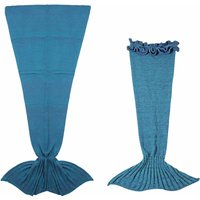 Mom and Me Knitted Mermaid Tail Blanket Set in Blue (2pc Set)