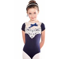 Girl's Floral Lace Short-Sleeve Leopard in Navy