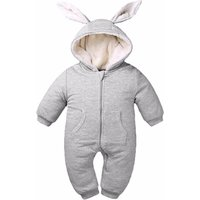 Newborn/Infant's Thermal Plush-Lined Zip-Up Rabbit Hooded Jumpsuit