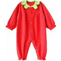 Newborn/Infant's Strawberry-Themed Snap-Up Jumpsuit