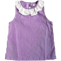 Ruffled-Collar Plaid Sleeveless Dress for Baby Girls