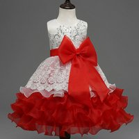 Sequin-Detailed Bowknot Ruffled Party Dress Red Princess Dress for Girls
