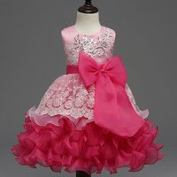 Sequin-Detailed Bowknot Ruffled Party Dress Pink Princess Dress for Girls