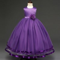 Rose Accented Long Wedding Dress in Purple for Girls