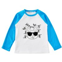 Cute Bunny Printed Long Sleeve Top Tee in Blue for Baby/Toddlers