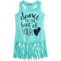 Dance to The Beat of Your Heart Tasseled Sleeveless Dress in Light Green for Girls