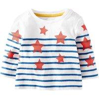 Baby & Kid's Stripes & Stars Printed Long-Sleeve Tee in White (Unisex)