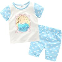 Toddler & Kid's Cute Bunny Short-Sleeve T-shirt & Heart Patterned Shorts Set (2pc-set)