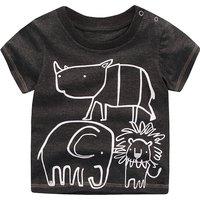 Animal Graphic Black T-shirt for Toddler Boys