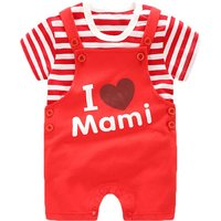 'I Love Mami' Red Striped Printed Cotton Shirt and Overalls Set for Baby(2-Piece)