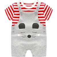 Red Striped & Sweet Smiley Bear Printed Cotton Tee & Overalls Set in Grey for Baby(2-Piece)