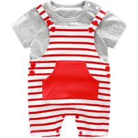 Baby's Basic Grey Short Sleeve Tee & Red Striped Overalls Set (2-Piece)
