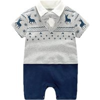 Reindeer Printed Faux-Two Gentleman Jumpsuit for Baby and Infant