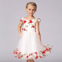 Off- Shoulder Princess Dress with Tridimensional Flower for Girls