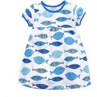 Sparkling Fish Patterned Cotton Short Sleeve Dress for Baby/Toddler Girls