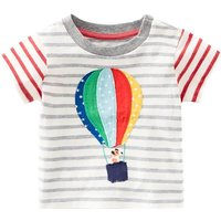 Striped and Fire Balloon Printed Cotton Short Sleeve Tee for Toddler Boys