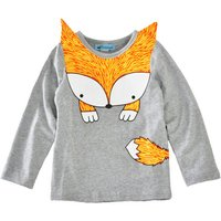 Foxy Long Sleeve Shirt in Grey for Baby and Toddlers Unisex