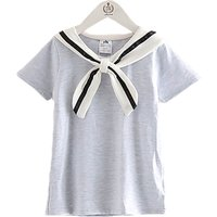 Marine Style Soild Short Sleeve T-shirt for Toddler Girls and Girls