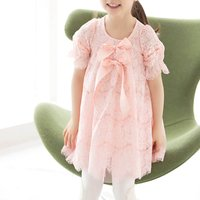 Sweet Bow-Accented Lace Overlay Princess Dress for Girls