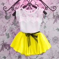 Lace Ruffle-Sleeve Top & Pleated Skirt Set for Toddler and Girls