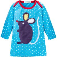 Polka Dot Mouse Appliqued Contrast Collar Long Sleeve Dress in Blue for Baby Girls