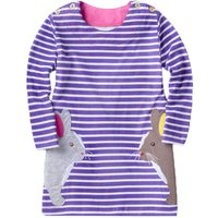 Cute Rabbit Appliqued and Striped Long Sleeve Dress for Girls