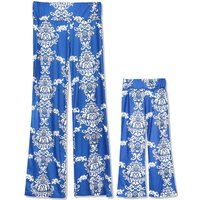 Contrast White Flower Printed Comfy Mom and Me Yoga Pants in Blue